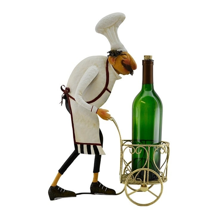 Wine bottle holder by Wine Bodies, Chef pushing golden ca...