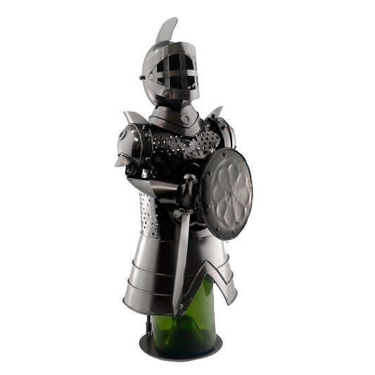 Wine bottle holder by Wine Bodies, Knight holding a shield