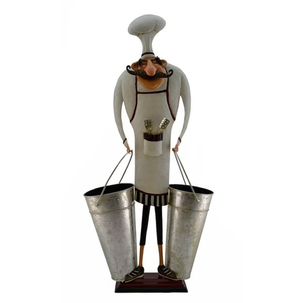 Wine bottle holder by Wine Bodies, Large chef with two pales