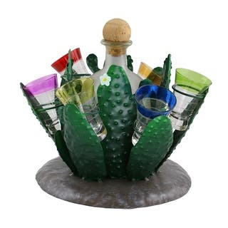 Tequila bottle holder by Wine Bodies, Cactus holding Tequila bottle and 6 shot glasses