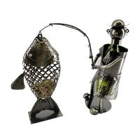 Wine bottle holder by Wine Bodies, Fisherman bottle holder with large fish cork holder