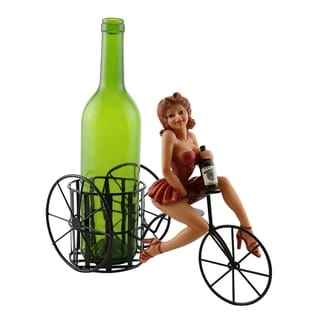 Wine bottle holder by Wine Bodies, Tricycle rider Lady in Red