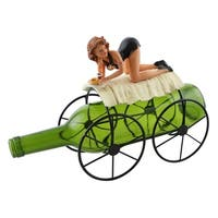 Wine bottle holder by Wine Bodies, Lady in black on top of 4 wheeled cart