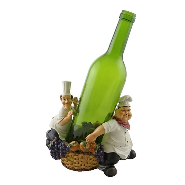 Wine bottle holder by Wine Bodies, Laurel and Hardy holding a bottle