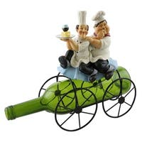 Wine bottle holder by Wine Bodies, Laurel and Hardy on top of a 4 wheeled cart