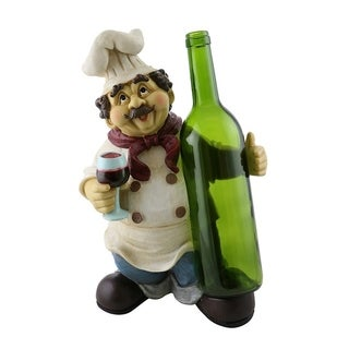 Wine bottle holder by Wine Bodies, Chef holding glass of wine and a bottle