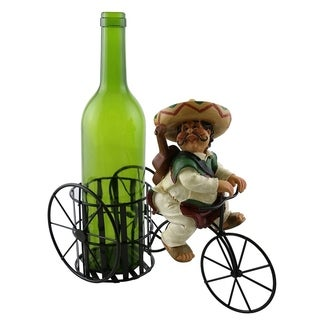 Wine bottle holder by Wine Bodies, Tricycle rider Mexican guitar player