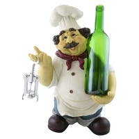 Wine bottle holder by Wine Bodies, Large chef holding a bottle and bottle opener