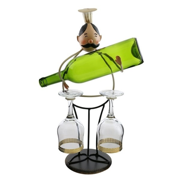 Wine bottle holder by Wine Bodies, Tall chef holding a bottle and two wine glasses