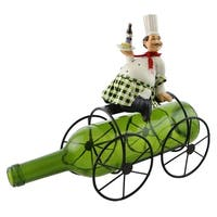 Wine bottle holder by Wine Bodies, Chubby chef on top of 4 wheeled cart