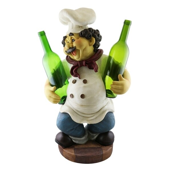 Wine bottle holder by Wine Bodies, Large chef holding two bottles