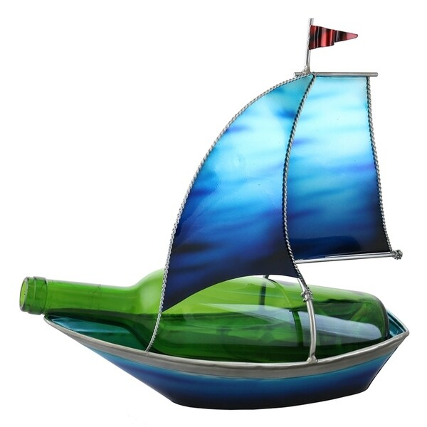 Wine bottle holder by Wine Bodies, Turquoise blue sail boat