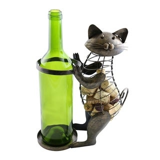 Wine bottle and cork holder by Wine Bodies, Cat holding the bottle