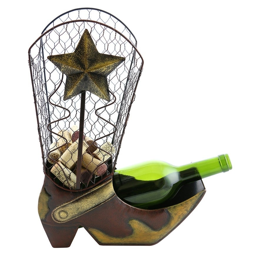 Wine bottle and cork holder by Wine Bodies, Cowboy Boot (...