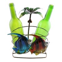 Wine bottle holder by Wine Bodies, 2 bottle holder with two fish and Palm tree