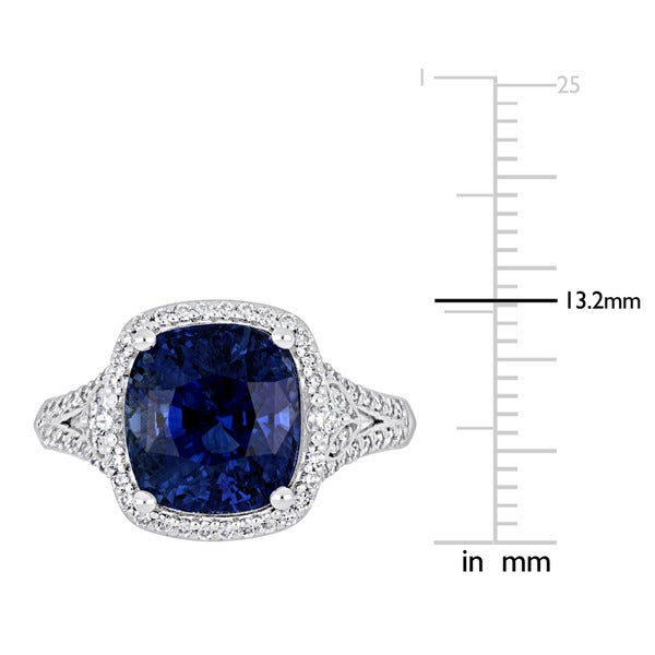 Miadora Signature Collection 14k White Gold Blue Sapphire and 1/2ct TDW Diamond Halo Split Shank Statement Ring