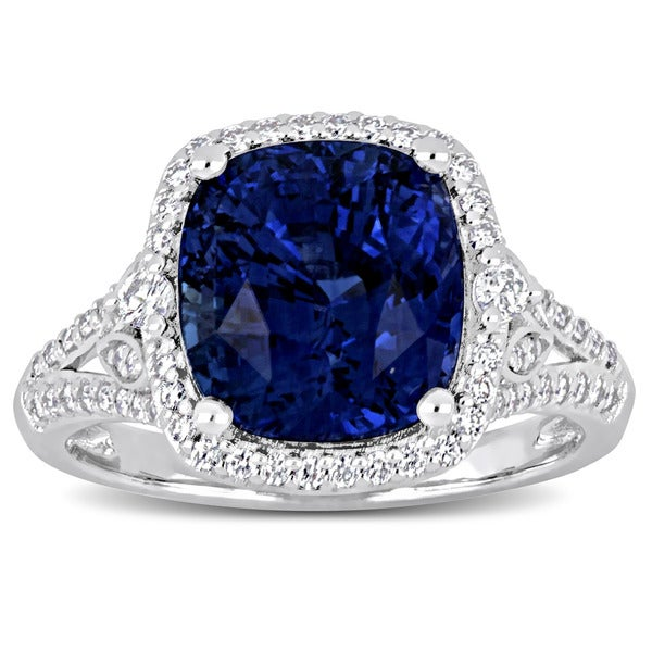 Miadora Signature Collection 14k White Gold Blue Sapphire and 1/2ct TDW Diamond Halo Split Shank Statement Ring. Opens flyout.