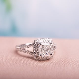 Miadora Signature Collection 14k White Gold 2ct TDW Cushion-Cut Diamond Double Square Halo Split Shank Engagement Ring