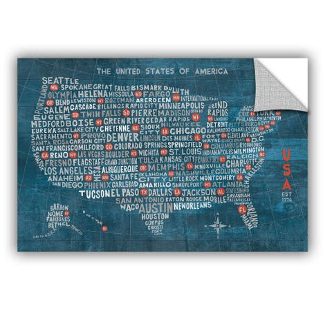 ArtAppealz Michael Mullan's US City Map On Wood Blue, Removable Wall Art Mural