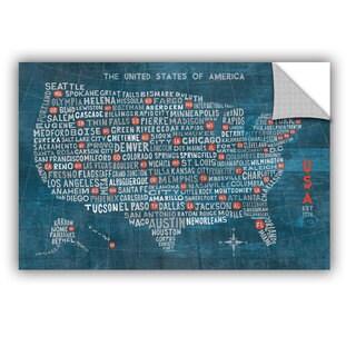 ArtAppealz Michael Mullan's US City Map On Wood Blue, Removable Wall Art Mural