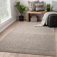 Xavier Hand-Knotted Geometric Light Gray/ Silver Area Rug (5' X 8')