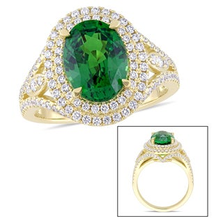 Miadora Signature Collection 14k Yellow Gold Tsavorite and 3/4ct TDW Diamond Double Halo Split Shank Statement Ring