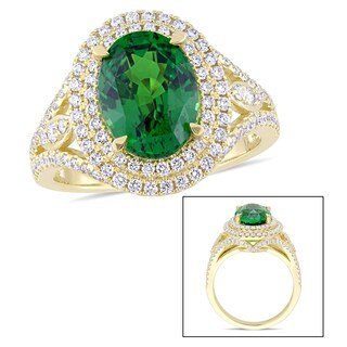 Miadora Signature Collection 14k Yellow Gold Tsavorite and 3/4ct TDW Diamond Double Halo Split Shank Statement Ring - Green (5 options available)