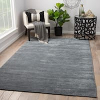 Phase Handmade Solid Gray Area Rug (5' x 8')