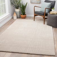 Vector Handmade Abstract Light Gray/ Cream Area Rug (5' x 8')