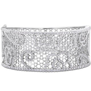 Miadora Signature Collection 14k White Gold 4-4/5ct TDW Diamond Filigree Openwork Cuff Bracelet