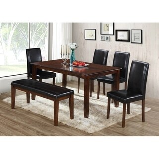 Best Quality Furniture 6-piece Cappuccino Dining Set with Bench