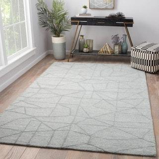 Detroit Handmade Abstract Grey Wool/Viscose Area Rug (5' x 8') - 5' x 8'