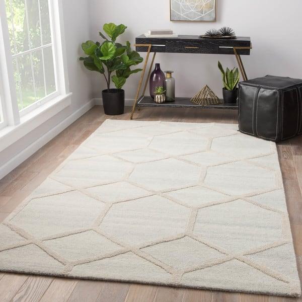 Tulsa Cream Grey Wool Handmade Geometric Rug 5 X 8