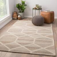 Tulsa Grey/Cream Wool Handmade Geometric Area Rug (5' x 8')