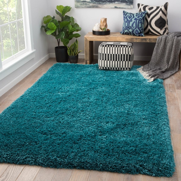 Shop Orion Solid Teal Area Rug 5 X 8 On Sale Free