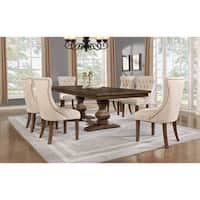 Best Quality Furniture 7-piece Walnut Extension Dining Table Set