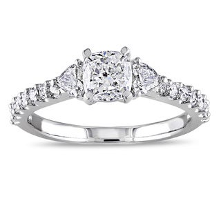 Miadora Signature Collection 14k White Gold 1 1/4ct TDW Diamond 3-Stone Engagement Ring