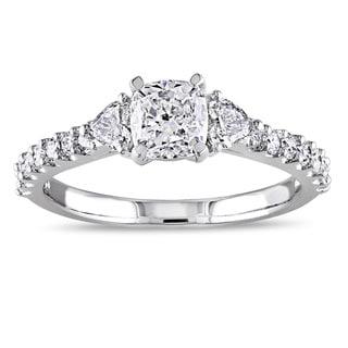 Miadora Signature Collection 14k White Gold 1 1/4ct TDW Diamond 3-Stone Engagement Ring