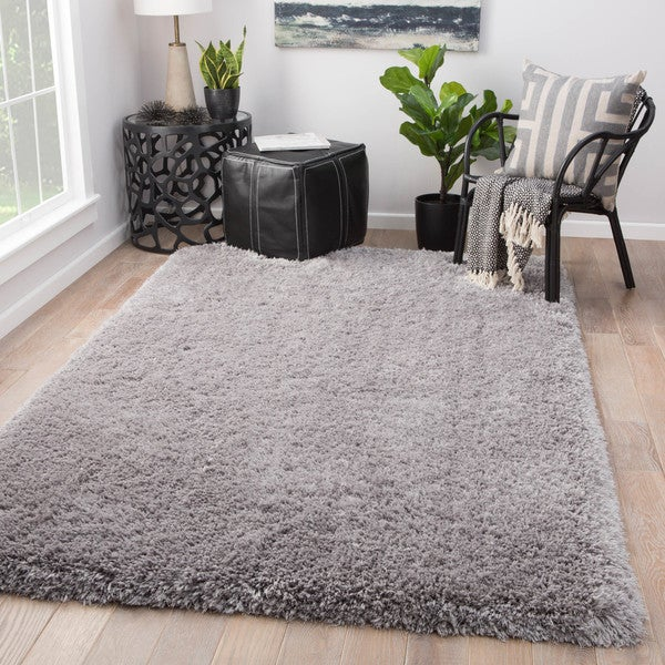 Shop Orion Solid Light Grey Shag Area Rug 5 X 8 5 X