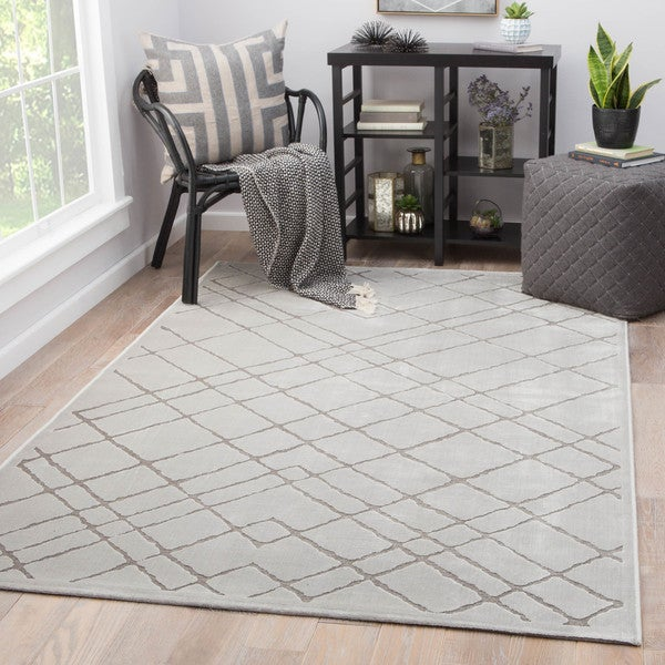 Shop Basset Geometric White Grey Rayon From Bamboo Area