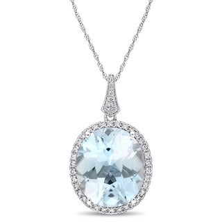 Miadora Signature Collection 14k White Gold Oval-Cut Sky-Blue Topaz and 4/5ct TDW Diamond Halo Necklace