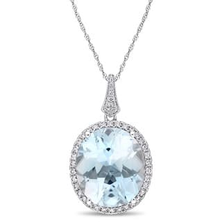 Miadora Signature Collection 14k White Gold Oval-Cut Sky-Blue Topaz and 4/5ct TDW Diamond Halo Necklace|https://ak1.ostkcdn.com/images/products/18177583/P24324645.jpg?impolicy=medium