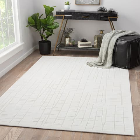 """Eline White/ Cream Rayon from Bamboo Abstract Area Rug (5' x 7'6) - 5' x 7'6"""""""
