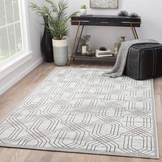 Juniper Home Marsielle Trellis White Dark Grey Rayon From Bamboo Indoor Area Rug 5
