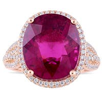 Miadora Signature Collection 14k Rose Gold Pink Tourmaline and 7/8ct TDW Diamond Halo Crowned Cocktail Ring
