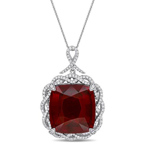 Miadora Signature Collection 14k White Gold Garnet and 1-1/3ct TDW Diamond Infinite Halo Necklace - Red