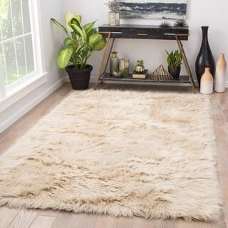 "Dresden Solid Cream Faux Fur Shag Area Rug (5' x 7'6) - 5' x 7'6"""