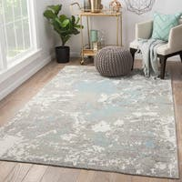 Alzira Hand-knotted Floral Grey/White Wool and Viscose Glam Area Rug (5' x 8')