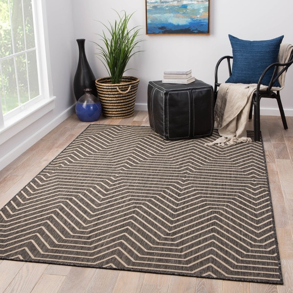 Black And White Geometric Rugs For Sale: Shop Clarion Indoor/ Outdoor Geometric Dark Gray/ Cream