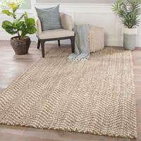 Mayara Natural Taupe/ White Jute Chevron Area Rug (5' x 8')